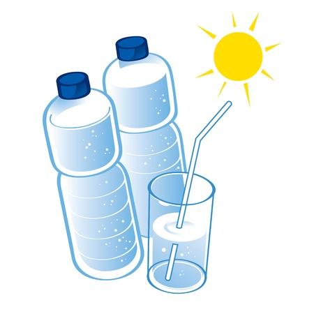 mineral water bottles: Spring Water plastic bottle health diet drink glass  Illustration