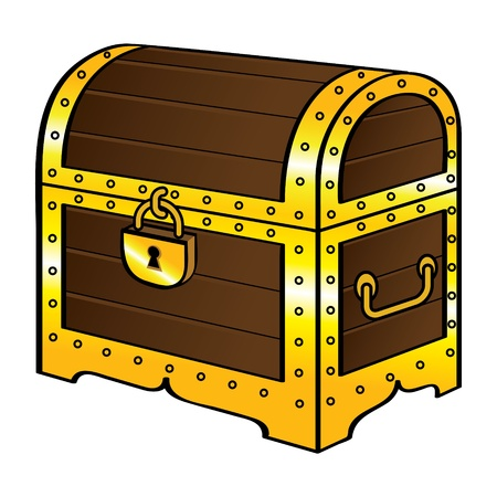 Trunk chest gold treasure wood old vintage pirate lock Фото со стока - 11916200