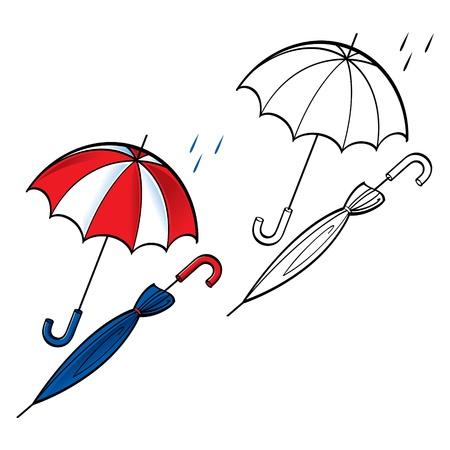 rain drop: Umbrella opened closed rain weather drop protect  Illustration