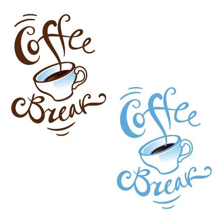 Coffee Break job work lunch office porcelain cup rest cafe restaurant  Stock Vector - 11966807