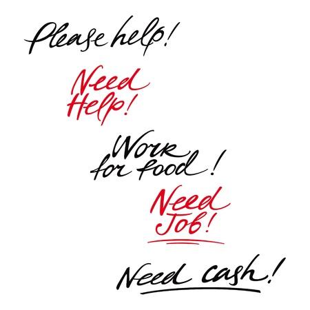 unemployment: Mensajes de ayuda necesita la depresi�n problema de la crisis de empleo de desempleo de trabajo Vectores