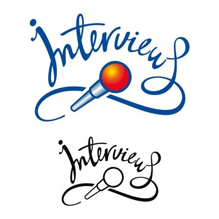 mic: Intervista microfono notizie reporter del giornale discorso televisivo Vettoriali
