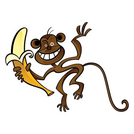 Monkey fun cartoon animal jungle banana food  Vector