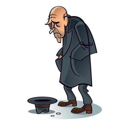 Crisis de los pobres mendigos problema de la depresión de trabajo de empleo de desempleo