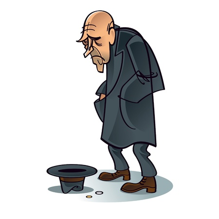 hombre pobre: Crisis de los pobres mendigos problema de la depresi�n de trabajo de empleo de desempleo