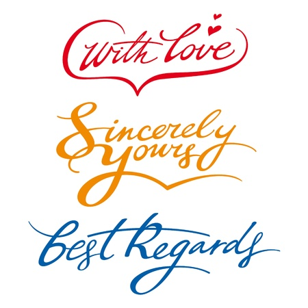 best regards sincerely yours with love signature Vector