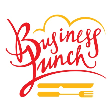 Business Lunch fork knife food breakfast decorative sign Vector