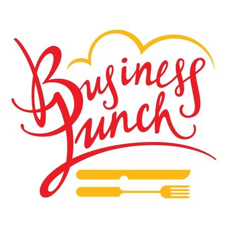 lunchen: Business Lunch vork mes eten ontbijt decoratieve teken