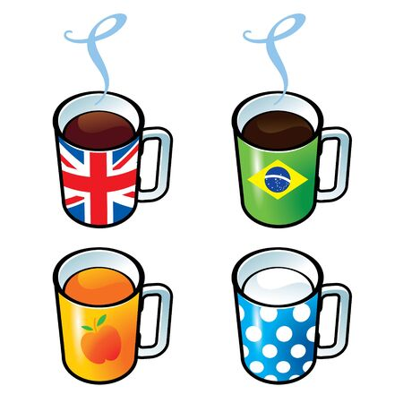 great coffee: Cups with tea, coffee, juice and milk drink Illustration