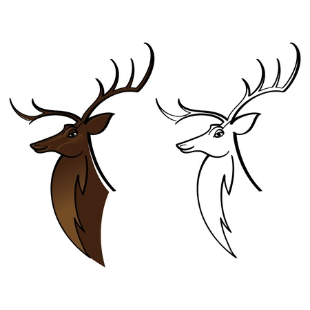 elk horn: Deer Buck Elk wild animal head with horns Illustration