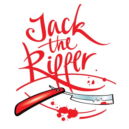 murder: Jack the Ripper maniac killer razor blade blood drop splash