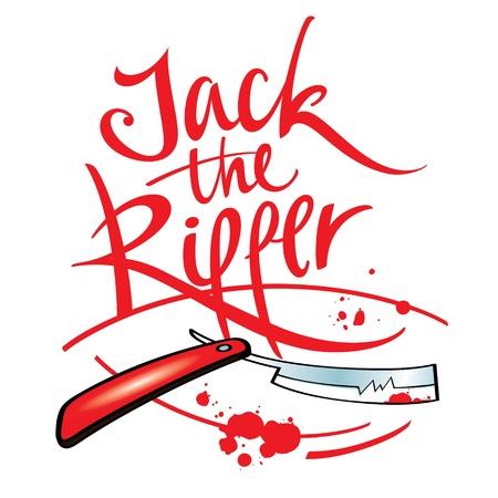 maniaco: Jack the Ripper maniaco assassino lama di rasoio schizzo della goccia di sangue Vettoriali