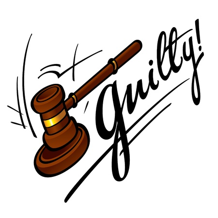 Guilty court judge wooden hammer crime sentence punishment Vector