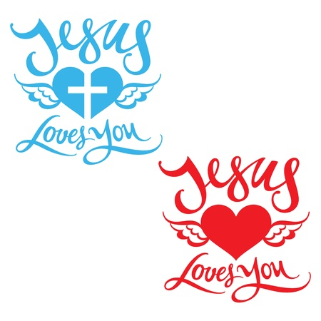 Jesus Loves You religion heart wing God bless Lord Stock Vector - 12957951