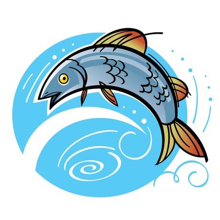 trucha: Pesca de salm�n saltando del agua del r�o Natural del Lago de Vectores