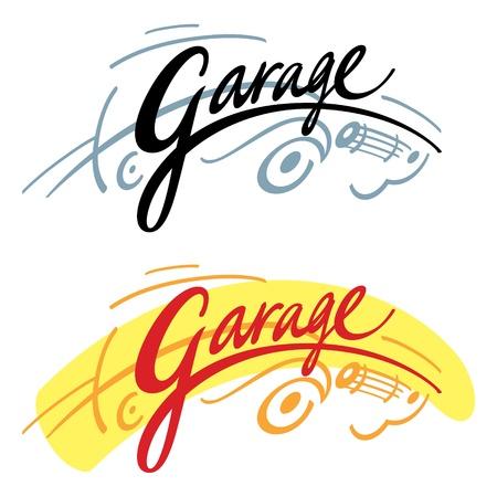 parking garage: Garage sign symbol ride car auto transport parking drive Illustration