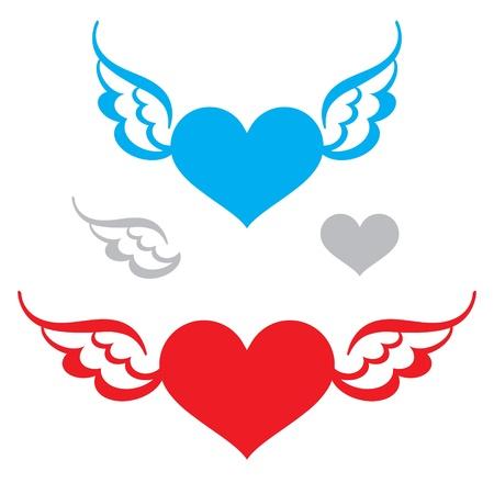 corazon con alas: Coraz�n y alas volantes s�mbolo de la fe sentimiento de amor la libertad