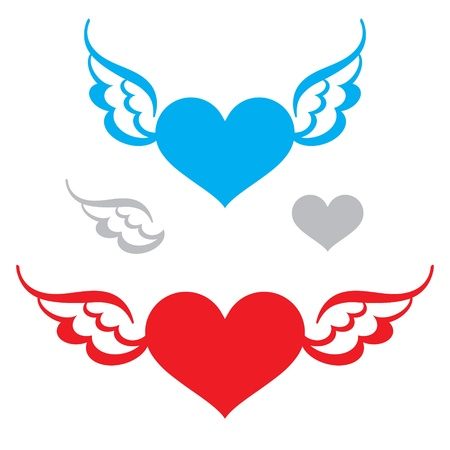 Heart and Wings flying symbol of love freedom feeling faith Vector