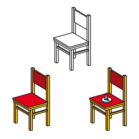 empty chair: Wooden furniture Chair and sharp office Pushpin Illustration