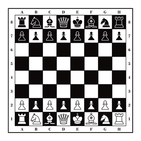 chess set: Set of Chess figures with wooden square checkmate board  Illustration