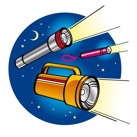 Set of Flashlights in the night sky with moon and stars  Vector