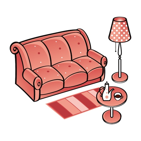 Set of Furniture - bench, carpet, lamp and table with coffee-pot and cup  Vector