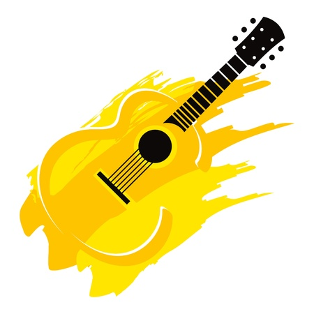 Music instrument wooden acoustic Guitar with strings Фото со стока - 14410318