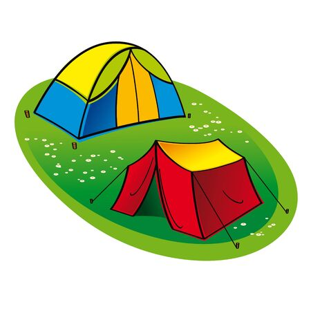 Two touristic Tents on the green grass lawn  Иллюстрация