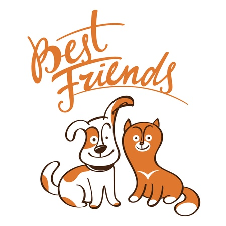 gato caricatura: Best Friends poco de mascotas, animales gato perro perrito gatito