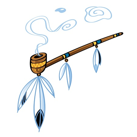 native american indian: Indian smoking Pipe american tradition bird feather decorative ornament Illustration