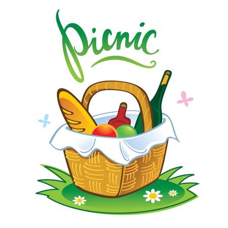 pane e vino: Barbecue tempo libero Picnic vacanze estive cibo nel cestino di paglia Vettoriali