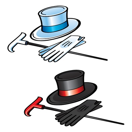 Top Hat Gloves and Cane elegant gentleman wear clothes Vector
