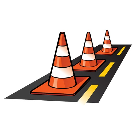 Traffic Cones road fence on asphalt highway Vector