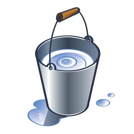 버킷: 나무 손잡이의 물 방울과 아연 양동이