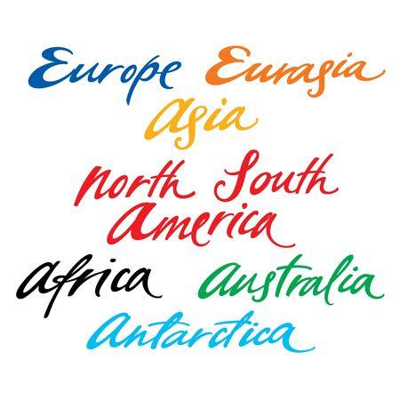 Inscriptions of different continents Europe Asia America Australia Antarctica Stock Vector - 14964471