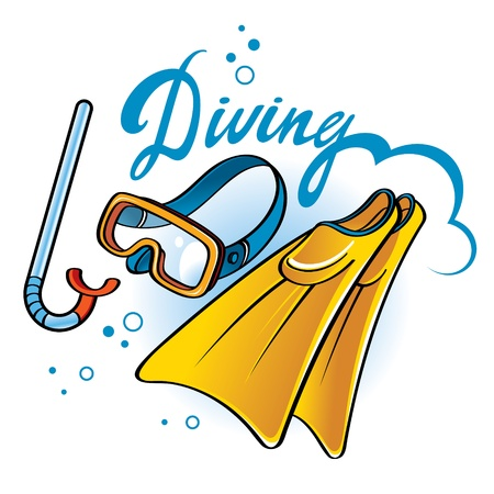 Diving equipment - tube, snorkel, flippers, mask Stock Vector - 14964474