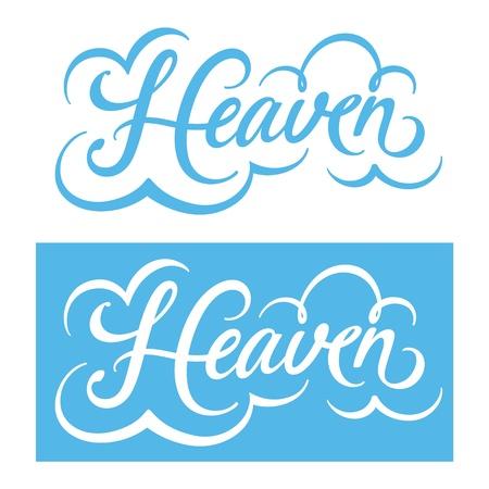 kingdom of heaven: Inscription for postcard Heaven clouds blue sky paradise