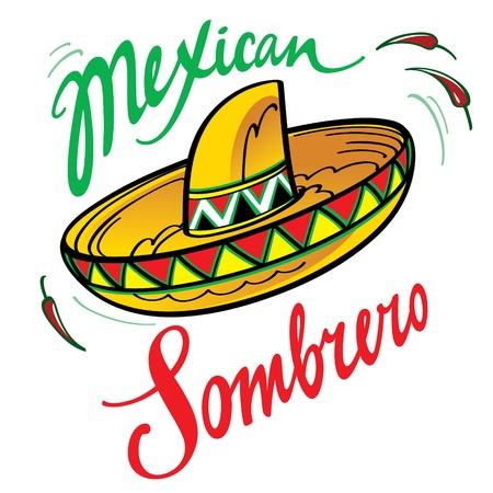 sombrero: Nationale traditionele latino kostuum hoed Mexicaanse Sombrero en rode paprika