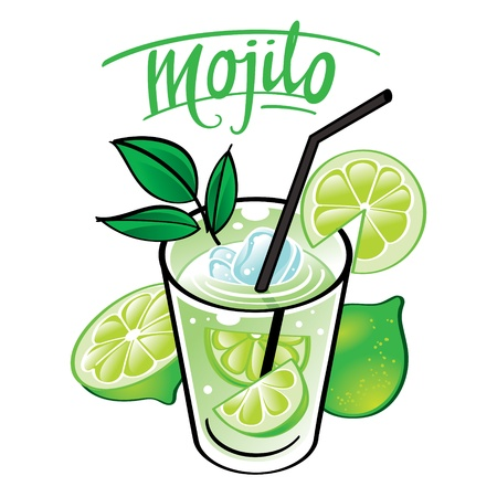 plastic straw: soft cold fresh alcohol drink with ice and mint - Mojito