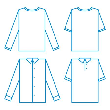 raglan: Set of different Shirts sample fashion fabric model wear clothing