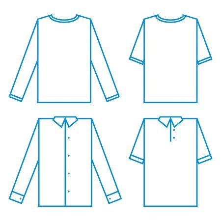 fashion set: Set of different Shirts sample fashion fabric model wear clothing