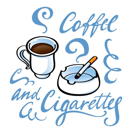 ashtray: Coffee and Cigarettes drink smoking cafe ashtray Illustration