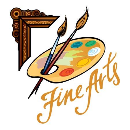 paleta de pintor: Artes marco Fine paleta imagen aceite pincel