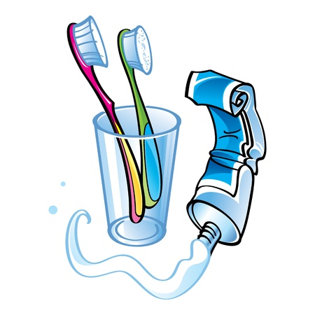 toothpaste: Teeth cleaning toothpaste glass toothbrush health care