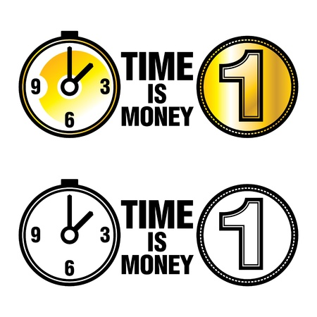 fund world: Time is money business finance metaphor concept clock coin Illustration