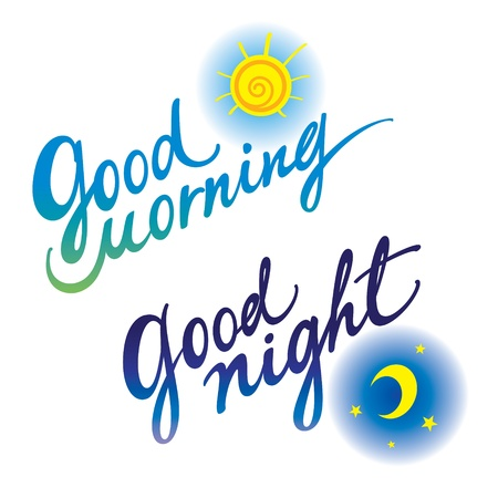 night and day: Good morning Good night day evening sleeping awakening Illustration