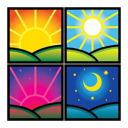 zon en maan: Ochtend Middag Avond Nacht natuur uurs zon maan Stock Illustratie