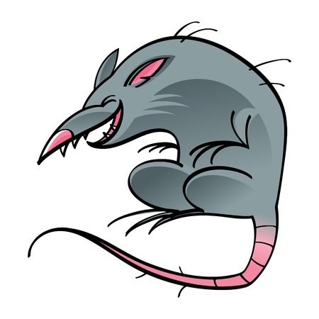 dirty teeth: Rat mouse cartoon character gutter street animal rodent Illustration