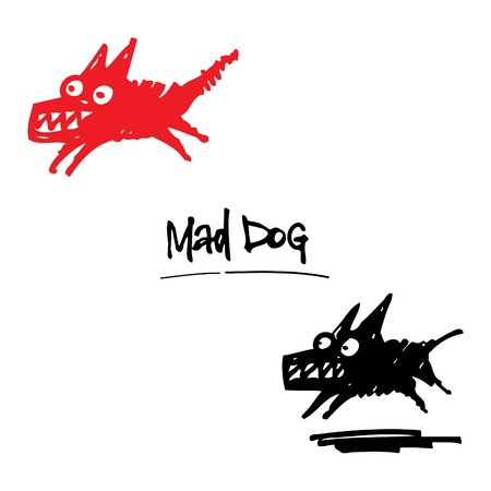 beware: Mad Dog angry animal pet cartoon ink drawing Illustration