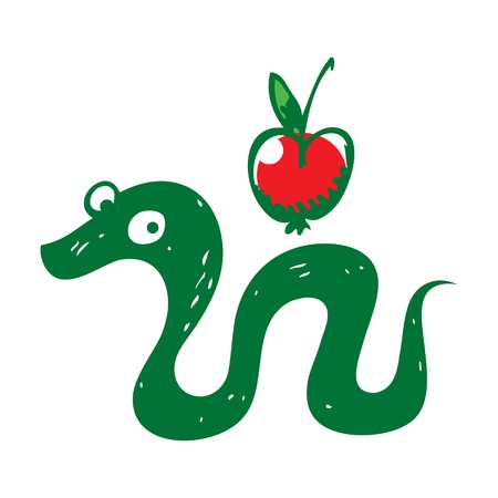 Snake and Apple reptile fruit sin paradise eden Vector